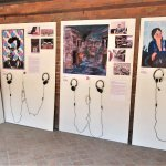 Visual and audio display of the 2015 earthquake survivors in the courtyard of the Patan Museum.