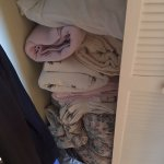 Dirty linens shoved in the closet