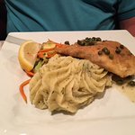 Salmon Picatta with garlic whipped potato