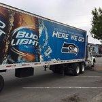 Truck leaving parking lot