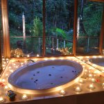 Glass Terrace Bungalow, with the romantic candle surprise. This is a two person 200 litre oval s