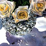 "Original watercolor ""White Roses and Crystal"" by Monika Pate.  One of many to see."