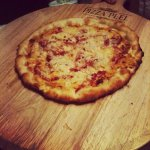 BBQ chicken pizza with our homemade BBQ sauce!