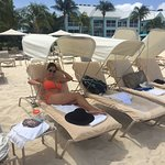 Beach chairs have shades for relief from the hot sun!