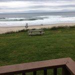 View of the Pacific Ocean from a private deck at Sailor Jack's in Lincoln City, Oregon.