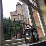 looking out the window up at the Black Gate