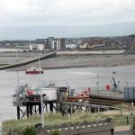 The Fleetwood Knott End ferry travels across the Wyre estuary.