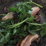 Warm salad of caramelised shallot, roasted chestnut, watercress, truffle oil