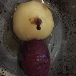 Star anise poached pear, cherry sorbet, poaching liquor