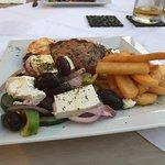 Moussaka, Tuna steak & prawns & finally village sausage all wonderful.. thank you Carol once aga