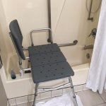 This was considered a handicap bath. Our son couldn't get his leg in to shower for surgery.