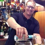 Sam the super bar man, making a great gin and tonic