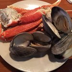 Alaskan crab legs and steamed clams