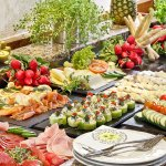 buffet with salmon