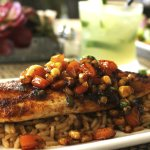 Chef Lunch Special - Blackened Red Fish with honey, corn, jalapeño salsa