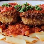 Chef Lunch Special - Chicken Parmesan atop penne pasta
