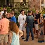 """Our """"Welcome Party"""" mixer next to the pool."""