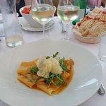 Parchetti with Porcini Mushrooms, Shrimp Salad