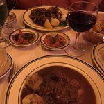 Beef burgundy(disappointing), ratatouille (excellent), calf's brains (excellent sauce, tofu text