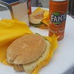 chicken sandwich and a fanta