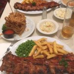 Full Rack of Ribs, Onion Bread and side orders