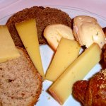 Selection of Swiss cheeses and breads