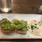 Avocado toast with fried eggs