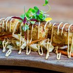 Tortilla-Crusted Crab Cakes Fresh jicama & roasted chili slaw,  smoked ancho chili aioli