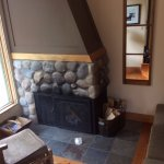 Fireplace in Deluxe Cabin