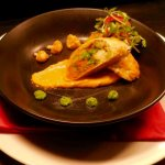 "Indian ""Samosa"" w. Coconut Sweet Potato, Green Pea Purée and Crunchy Cauliflower Chef Peter O'Co"