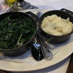 Sauteed spinach side dish. Garlic mashed potato side to steak entree