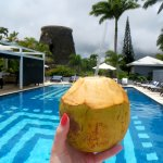 Enjoying a fresh coconut by the pool. | The Rose Table