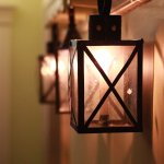 more heritage type of candle ights in the hallway