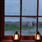 candle lights by the window