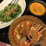Lamb Massaman Curry, Thai red curry and morning glory