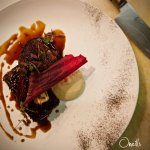 Eye Fillet of Beef, Pressed smoked short rib, confit beetroot, pickled carrot, parsnip, rosemary