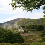 Steam engine view from cafe