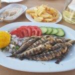 Grilled sardines, taramasalata and the house wine