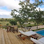 Pool deck area with a view of the waterhole