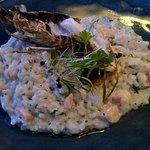 Risotto Pescatora - Prawn salmon and Morton bay bug in cream and basil sauce