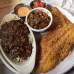 Cat Fish with Crawfish Ettufee and Red Beans and Rice