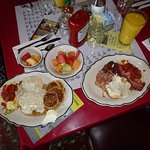A sample of some of the smorgasbord breakfast items. Orange juice is extra but tasted fresh