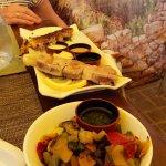 Plat: brochette de thon et poulet