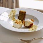 Pistachio cake, almond cream, cashew nut ice cream