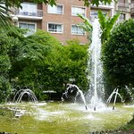 fountain in the park (our room is the one with curtains drawn)