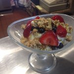 Greek Yogurt with Granola blueberries stawberries & honey