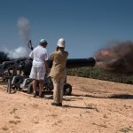 Firing the cannon at Fort Rinella