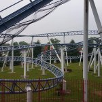 Crossbow coaster at the back of the park