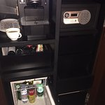 Tiny refrigerator, safe, coffee maker...