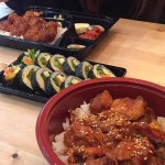 First time meal. They ran out of the gimbap we wanted but made us a fresh batch!